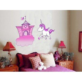 VINILO DECORATIVO CASTILLO Y UNICORNIO