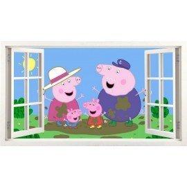 VINILO DECORATIVO FAMILIA PEPPA PIG VENTANA