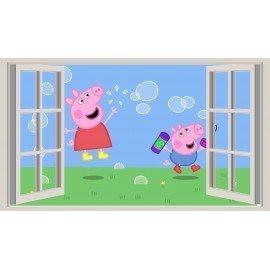 VINILO DECORATIVO FAMILIA PEPPA PIG VENTANA POMPAS