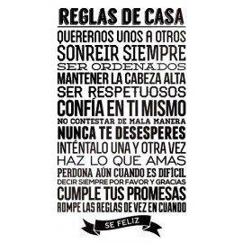VINILO PARED REGLAS DE CASA