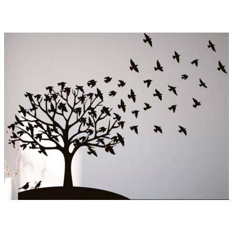 Vinilo decorativo pared rbol p jaros volando - Vinilos de arboles para paredes ...