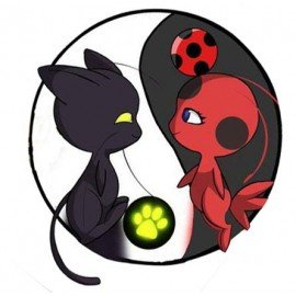 VINILO DECORATIVO PARED MASCOTAS LADYBUG Y CAT NOIR